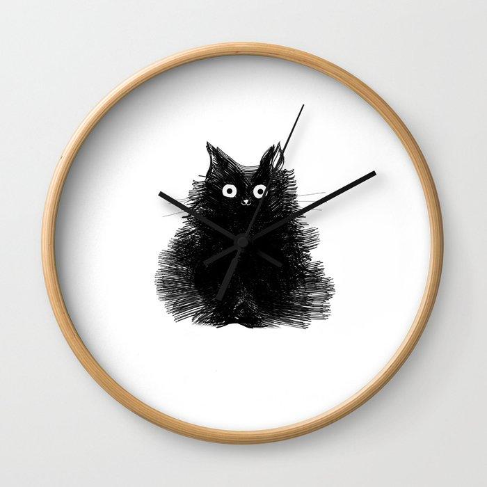 Duster - Black Cat Drawing Wall Clock