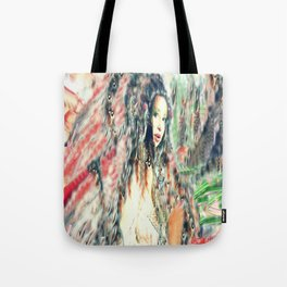 Indian princess  feathered headdress by lady Kashmir  Tote Bag