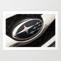 subaru Art Prints featuring Subaru Logo by SShaw Photographic