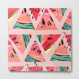 Pink Watermelon Pattern Metal Print