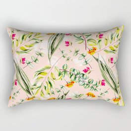 Pattern leaf and flowers II Rectangular Pillow