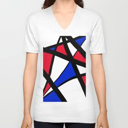 Geometric Red, White, and Blue Stars Abstract Unisex V-Neck