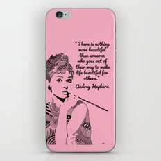 AUDREY HEPBURN pink iPhone & iPod Skin