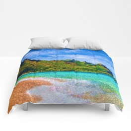 Pacific Isles, A Landscape Painting by Jeanpaul Ferro Comforters