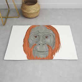 Unflanged Male Orangutan Drawing Rug