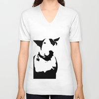 bull terrier V-neck T-shirts featuring English Bull Terrier by Alex Birch