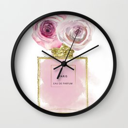 Pink & Gold Floral Fashion Perfume Bottle Wall Clock
