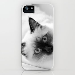 Black and white cat lying on the couch v.1 iPhone Case