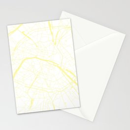Paris France Minimal Street Map - White on Yellow Stationery Cards