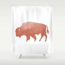 Watercolor Bison in Peach Shower Curtain