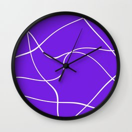 """Abstract lines"" - White on lavender Wall Clock"