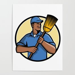 African American Street Sweeper or Cleaner Mascot Poster