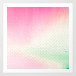 Abstract modern blush pink green watercolor paint Art Print