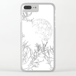 winter moon and trees Clear iPhone Case