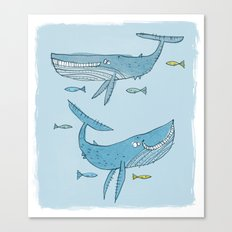 'Whales & Pilot Fish' Canvas Print