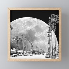 California Dream // Moon Black and White Palm Tree Fantasy Art Print Framed Mini Art Print