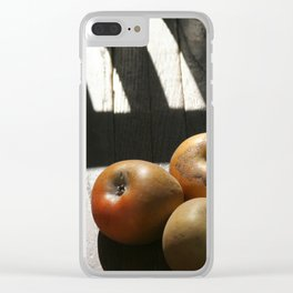 Three apples on a chair Clear iPhone Case