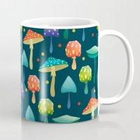 mushrooms Mugs featuring Mushrooms by Julia Badeeva