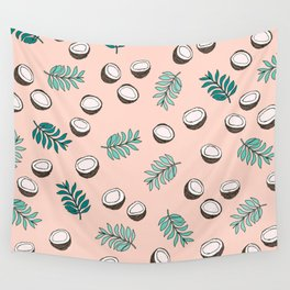 Little coconut garden summer surf palm leaves pink Wall Tapestry