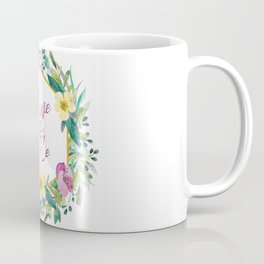 Colorful flowers wreath, Save the date Typography Coffee Mug