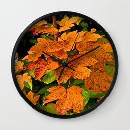 glowing autumn leafs Wall Clock