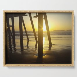 Pismo Beach Pier in the Sunset Serving Tray