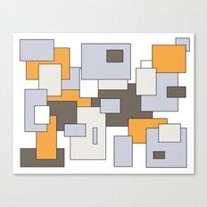 Squares - gray, orange and white. Canvas Print