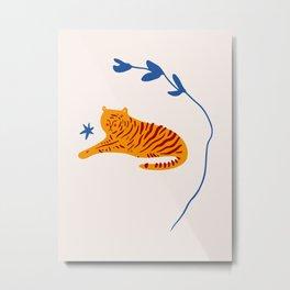 A Tiger and Blue Star Metal Print