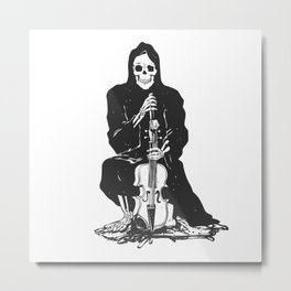 Violinist skull - grim reaper - cartoon skeleton - halloween illustration Metal Print