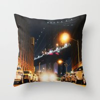dumbo Throw Pillows featuring Dumbo, Brooklyn by Dominique Weber