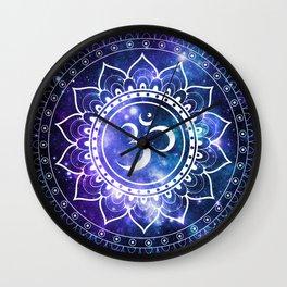 Om Mandala: Violet & Teal Galaxy Wall Clock