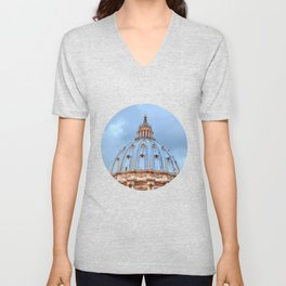 The dome of St. Peter's Basilica, Vatican, Rome, Italy. Unisex V-Neck