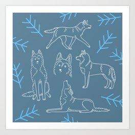 Siberian Husky Pattern (Blue-Gray) Art Print