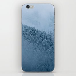 Omnious foggy winter forest - landscape photography iPhone Skin