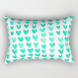 Brush stroke hearts - aqua Rectangular Pillow