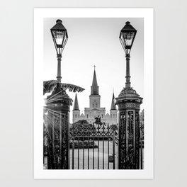 St. Louis Cathedral Blk & Wht Art Print