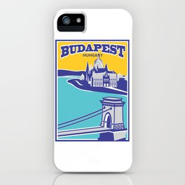 Budapest vintage poster, Chain Bridge iPhone Case