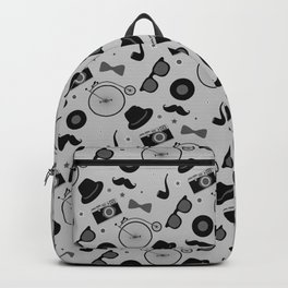 Grayscale Hipster Elements Pattern Backpack