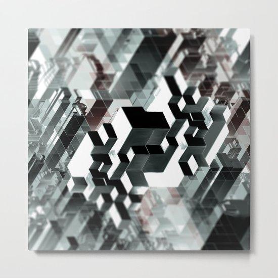 Sim City Monochrome Metal Print