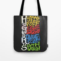 hogwarts Tote Bags featuring Hogwarts Houses by oddhour