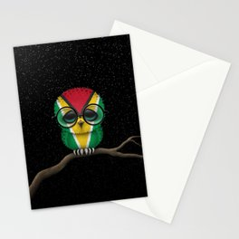 Baby Owl with Glasses and Guyanese Flag Stationery Cards