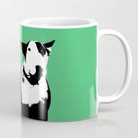 bull terrier Mugs featuring English Bull Terrier by Alex Birch