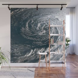 Hurricane on Earth viewed from space. Typhoon over planet Earth. Wall Mural