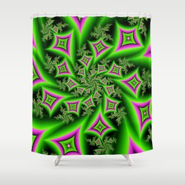 Green And Pink Shapes Fractal Shower Curtain