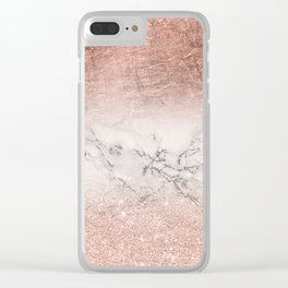 Modern faux rose gold glitter and foil ombre gradient on white marble color block Clear iPhone Case