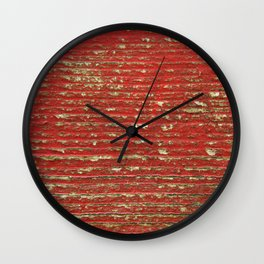 Chipped Red Painted Wood Wall Clock