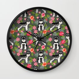 Schnauzer hawaii pattern floral hibiscus floral flower pattern palm leaves Wall Clock