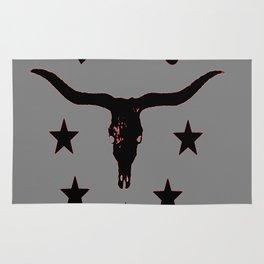 Grey & Black Texas Longhorn Logo Pattern Art Rug