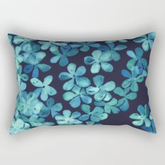 Hand Painted Floral Pattern in Teal & Navy Blue Rectangular Pillow