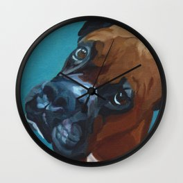 Leo the Boxer Dog Portrait Wall Clock